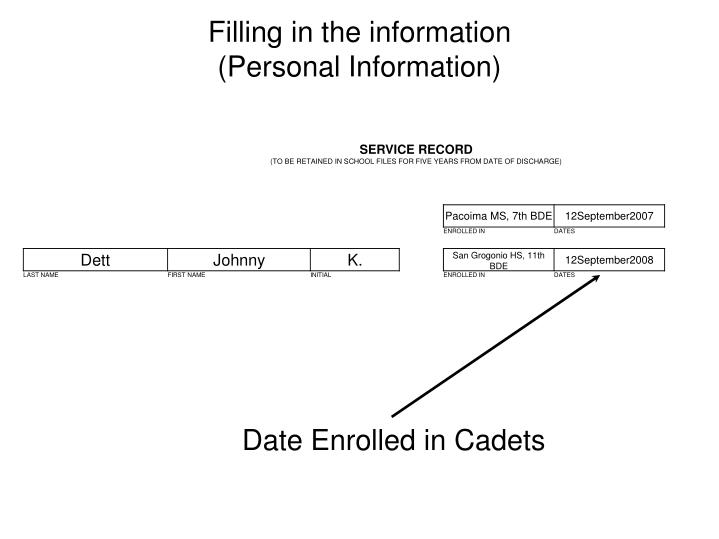 Date Enrolled in Cadets