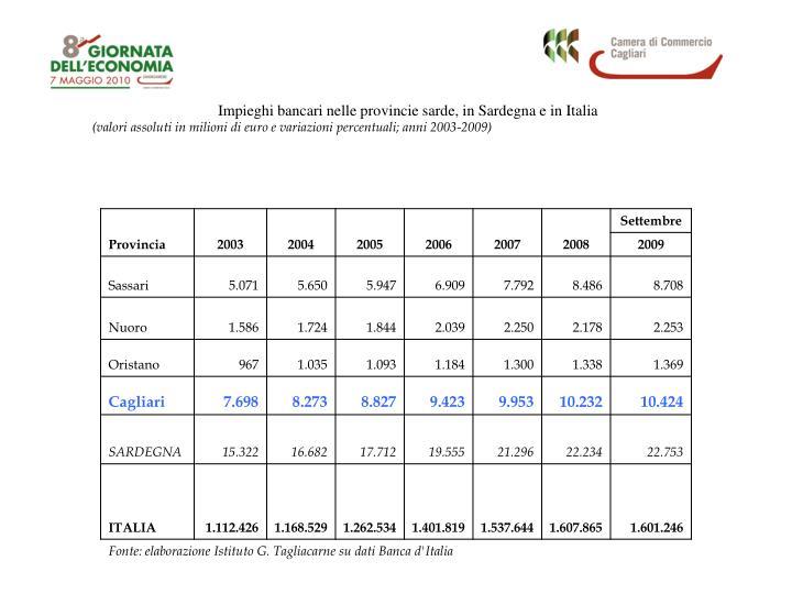 Impieghi bancari nelle provincie sarde, in Sardegna e in Italia