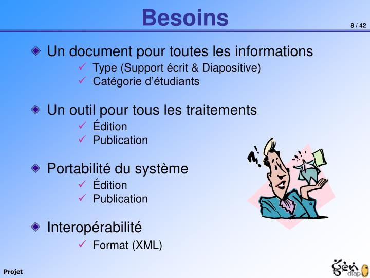 Un document pour toutes les informations