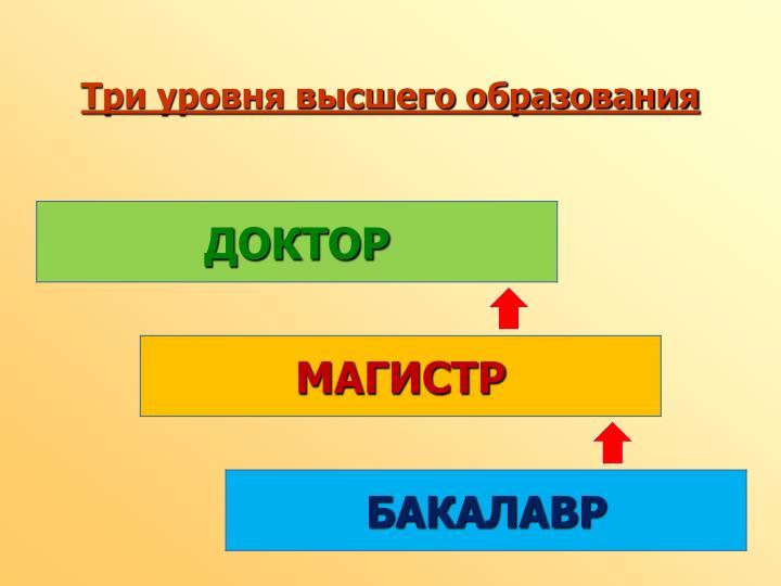 Три уровня высшего образования