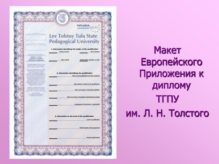 Макет Европейского Приложения к диплому