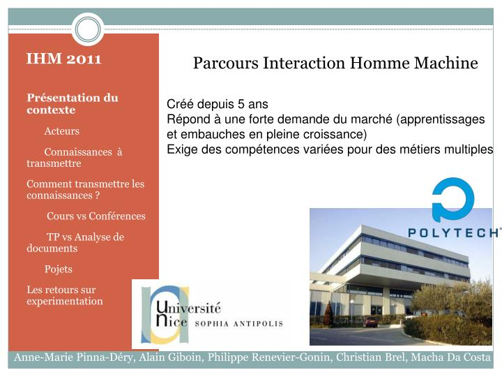 Parcours Interaction Homme Machine