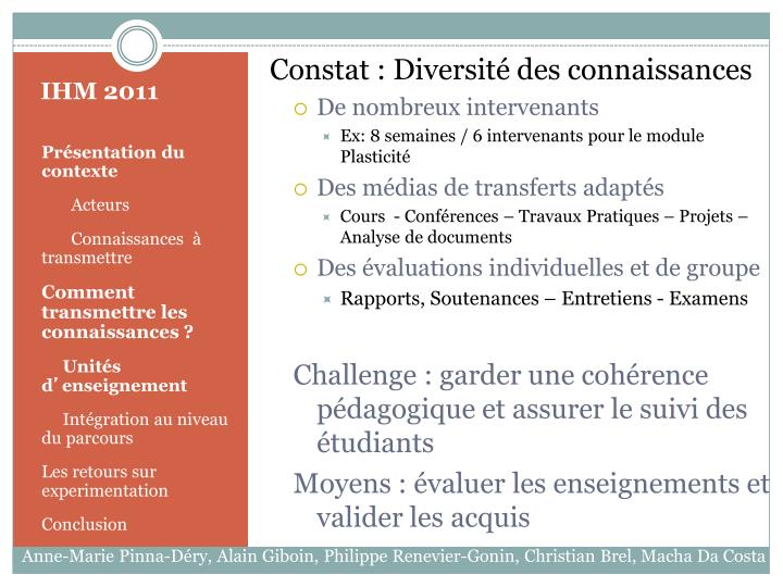 Constat : Diversité des connaissances