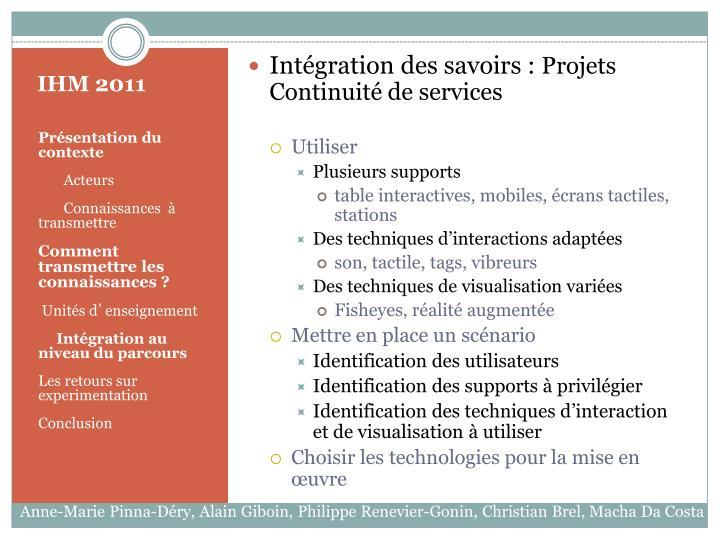 Intégration des savoirs :