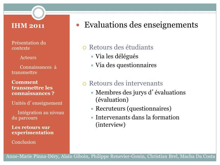 Evaluations des enseignements