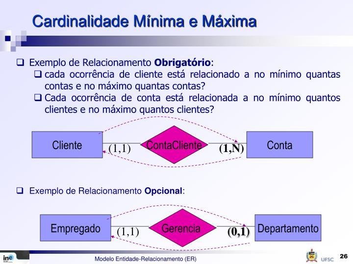 Cardinalidade Mínima e Máxima