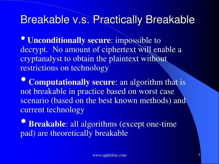 Breakable v.s. Practically Breakable