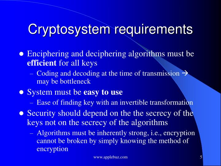 Cryptosystem requirements