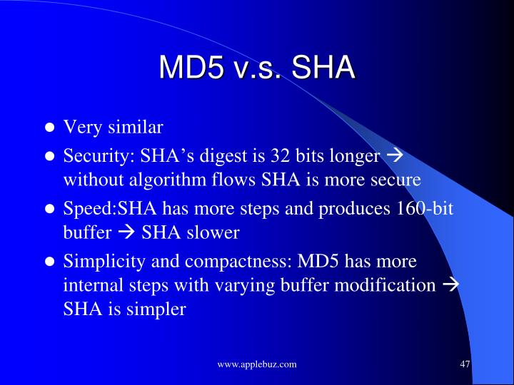MD5 v.s. SHA