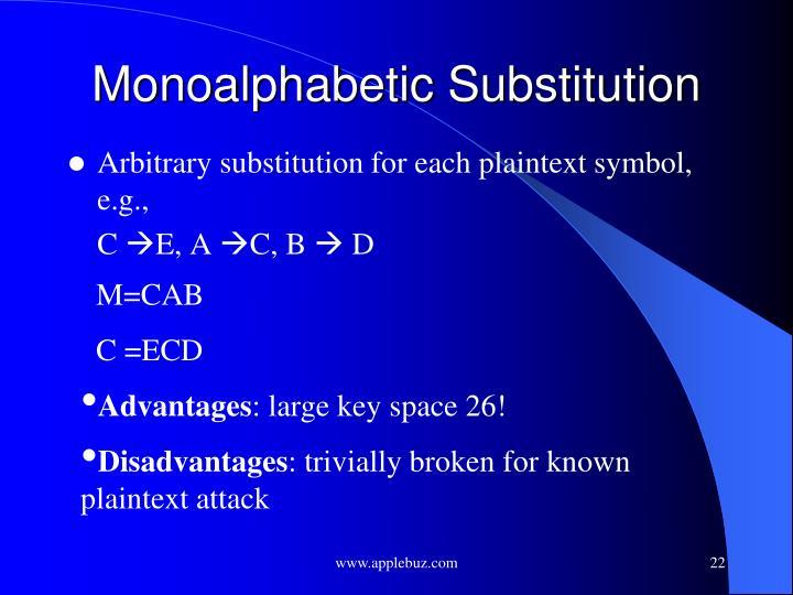 Monoalphabetic Substitution
