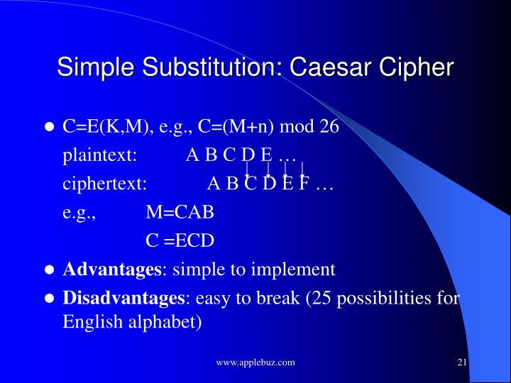 Simple Substitution: Caesar Cipher