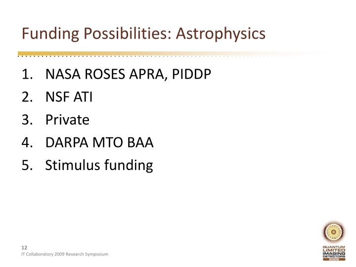 Funding Possibilities: Astrophysics