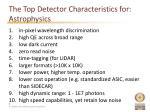 the top detector characteristics for astrophysics