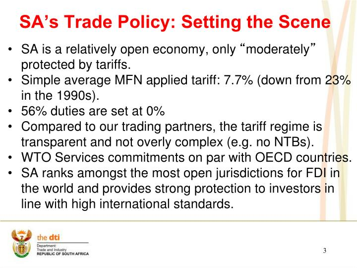 SA's Trade Policy: Setting the Scene