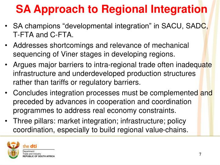 SA Approach to Regional Integration