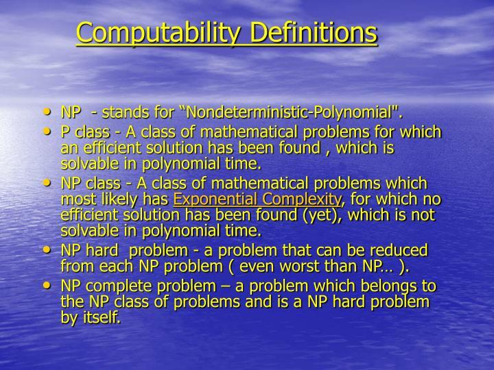 Computability Definitions