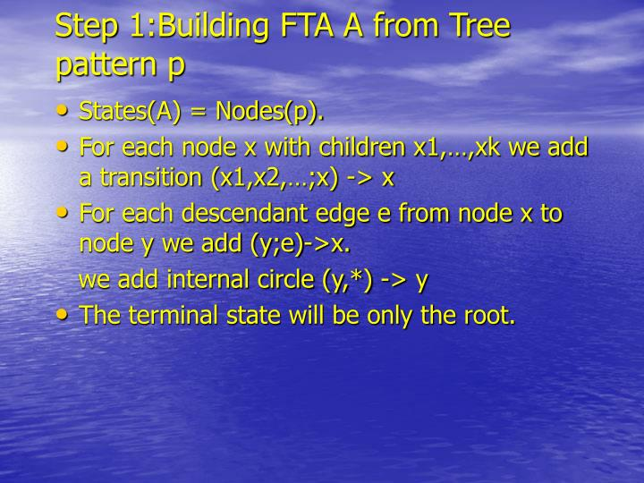 Step 1:Building FTA A from Tree pattern p