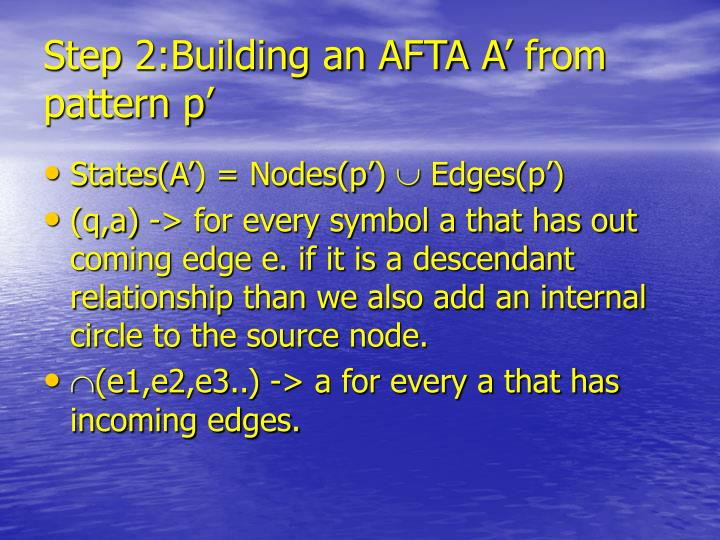 Step 2:Building an AFTA A' from pattern p'
