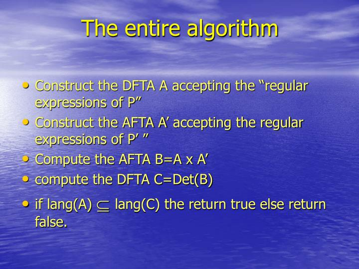 The entire algorithm