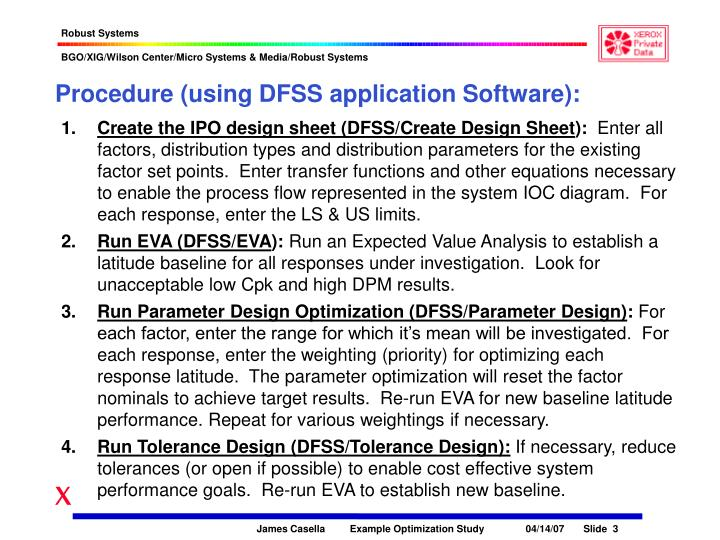 Procedure (using DFSS application Software):