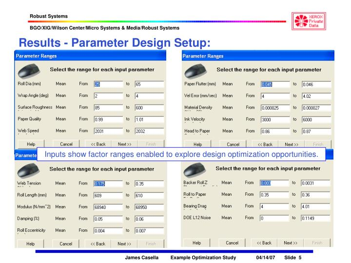 Results - Parameter Design Setup: