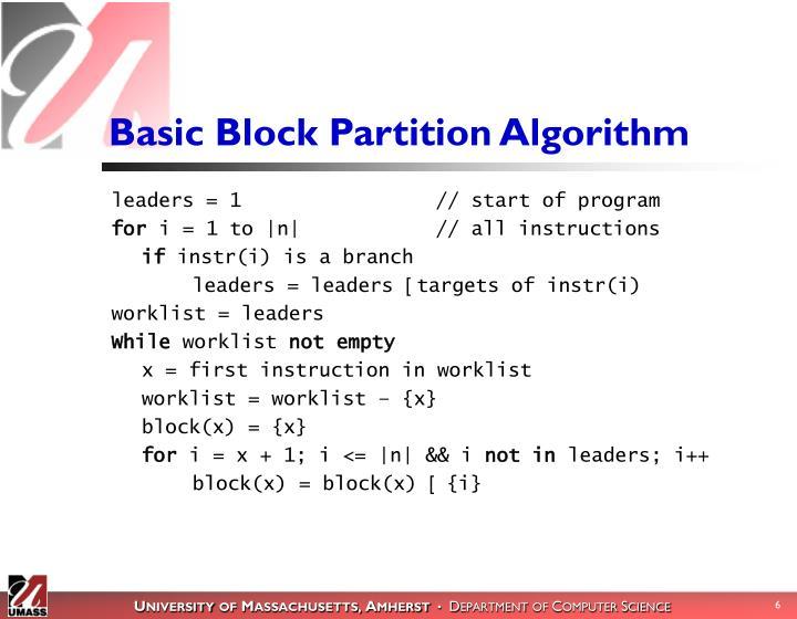 Basic Block Partition Algorithm