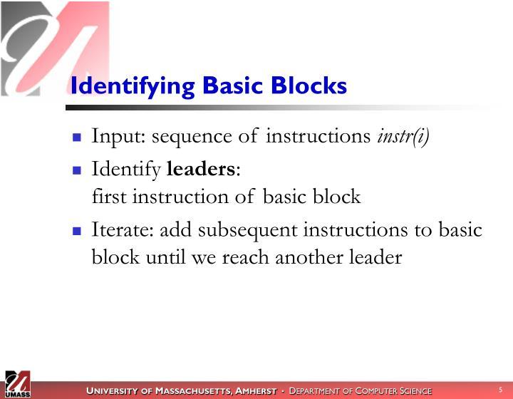 Identifying Basic Blocks