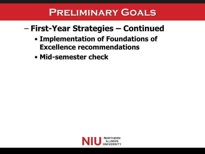 Preliminary Goals