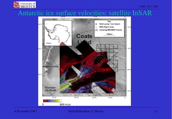 Antarctic ice surface velocities: satellite InSAR