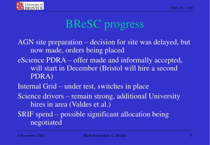 BReSC progress