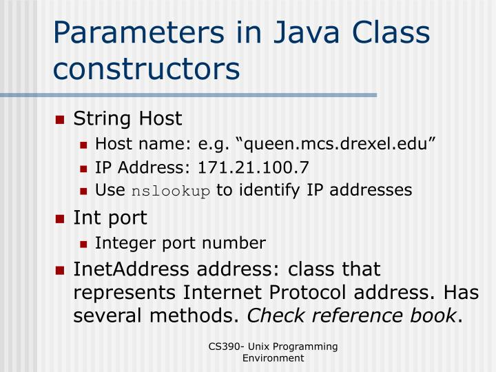 Parameters in Java Class constructors
