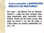 como entender a animac o b blica da pastoral1