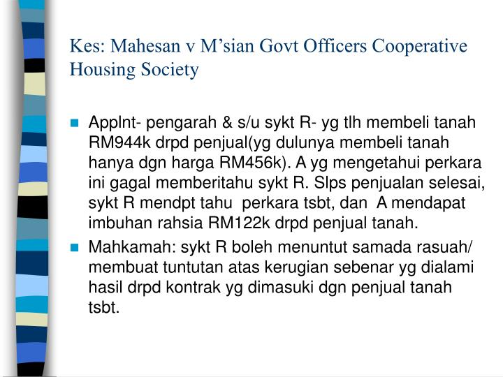 Kes: Mahesan v M'sian Govt Officers Cooperative Housing Society