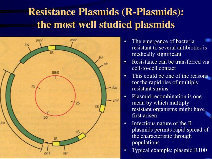 Resistance Plasmids (R-Plasmids):   the most well studied plasmids