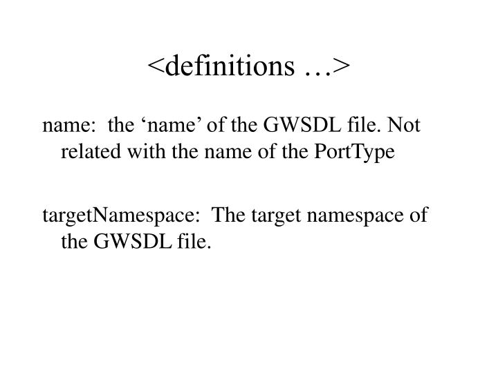 <definitions …>