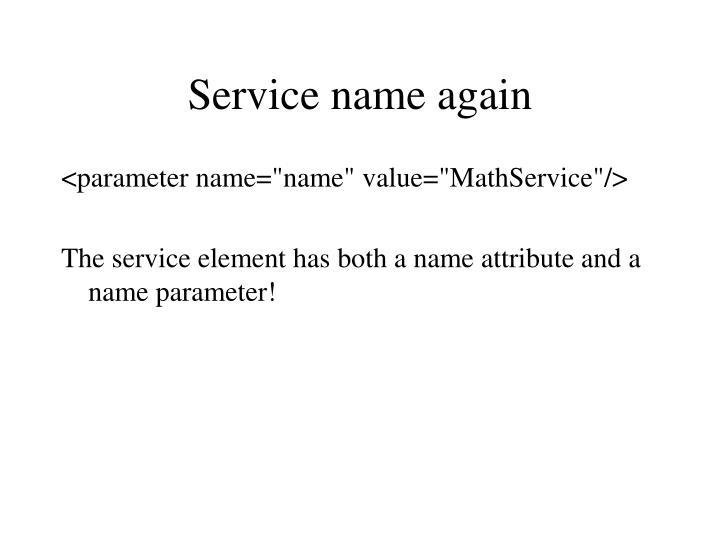 Service name again