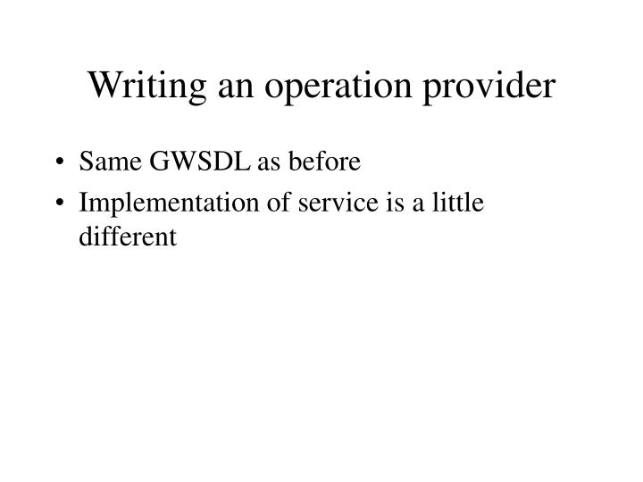 Writing an operation provider