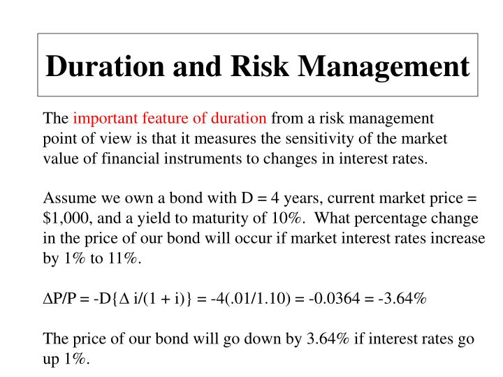 Duration and Risk Management