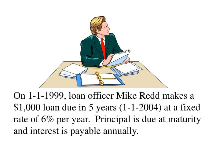 On 1-1-1999, loan officer Mike Redd makes a $1,000 loan due in 5 years (1-1-2004) at a fixed rate of 6% per year.  Principal is due at maturity and interest is payable annually.