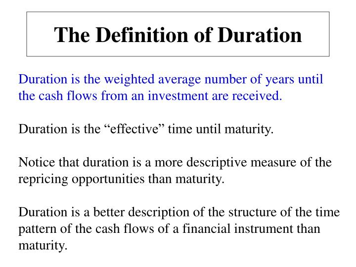 The Definition of Duration