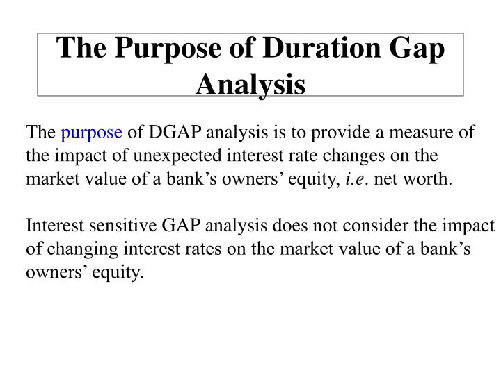 The Purpose of Duration Gap Analysis