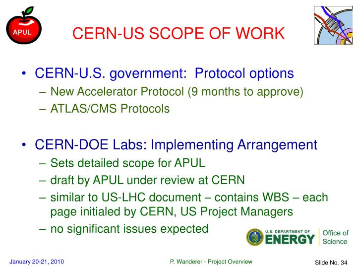 CERN-US SCOPE OF WORK