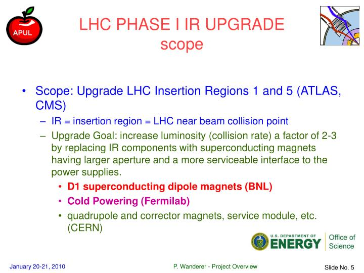 LHC PHASE I IR UPGRADE