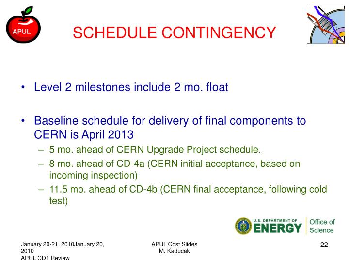 SCHEDULE CONTINGENCY