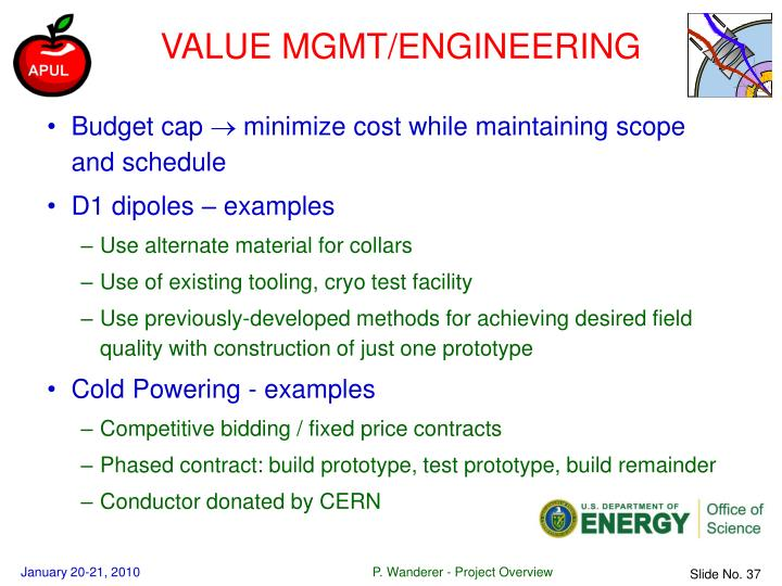 VALUE MGMT/ENGINEERING