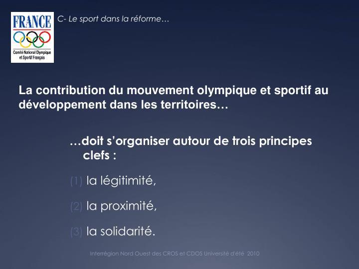 C- Le sport dans la réforme…