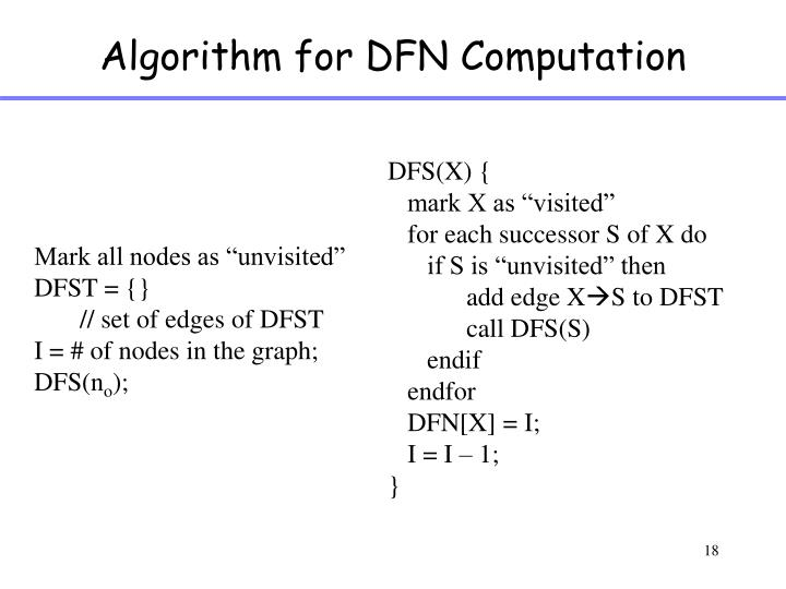 Algorithm for DFN Computation