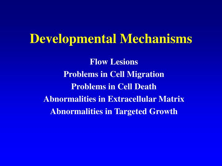 Developmental Mechanisms
