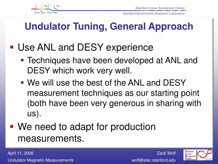 Undulator Tuning, General Approach