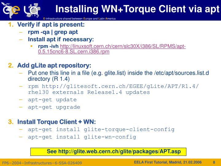 Installing WN+Torque Client via apt